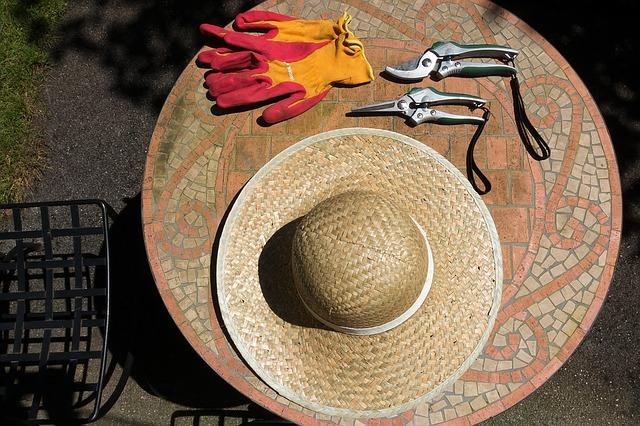 麦わら帽子と剪定ばさみ