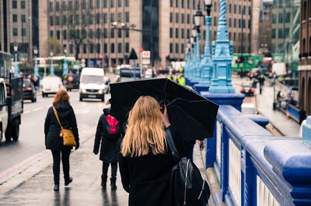 折りたたみ傘をさす女性