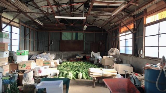 農作物を保存している倉庫内