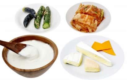 発酵食品各種。ぬか漬け、キムチ、ヨーグルト、チーズ