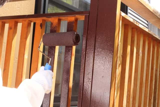 木製柵の塗り替え