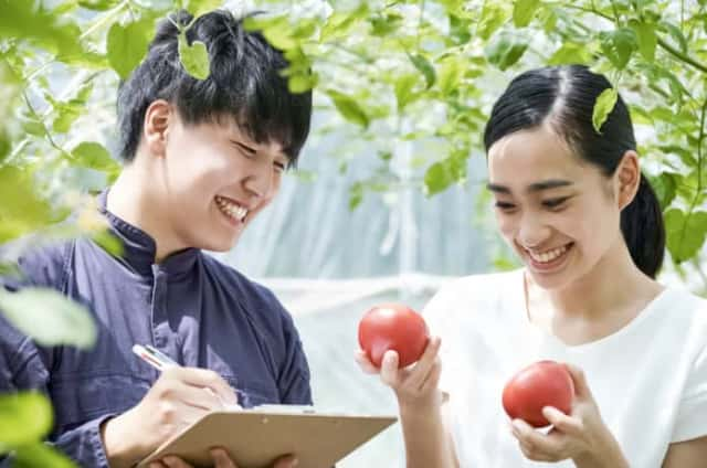 収穫した野菜を見る男女