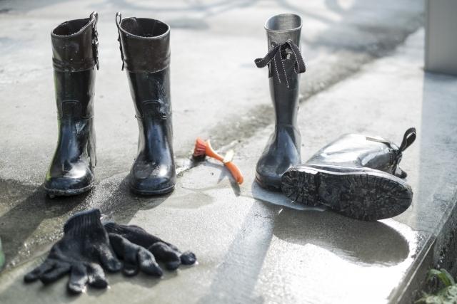 センチュウ類を持ち込まないために長靴をきれいに洗う