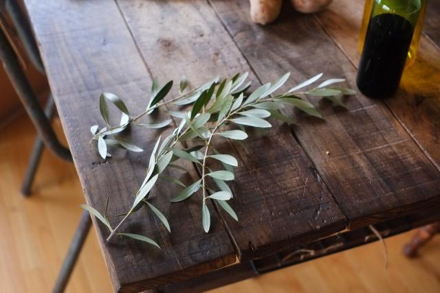 テーブルの上に乗ったオリーブの枝