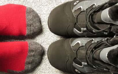 靴下とトレッキングシューズ
