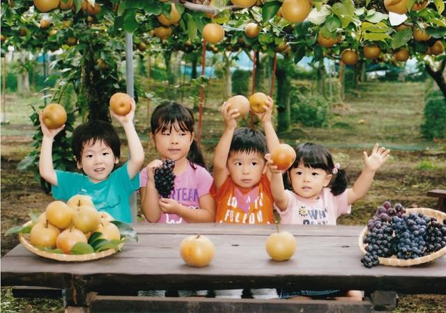 梨の木の下で梨を持つ子供たち