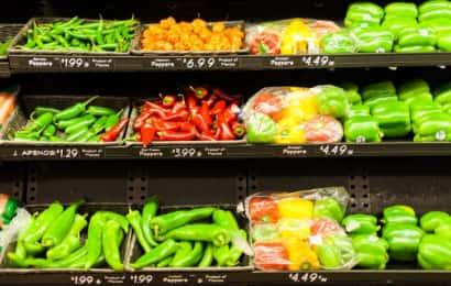陳列された野菜