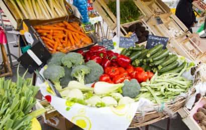 ディスプレイされた野菜