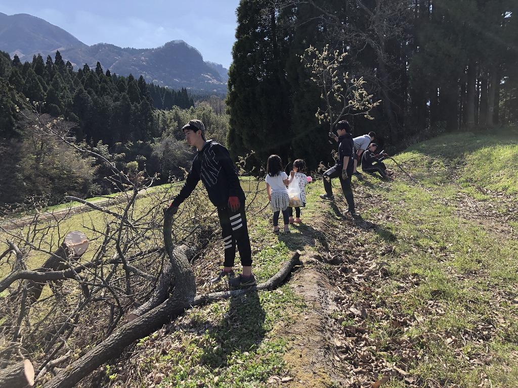 切り倒した木と子どもたち