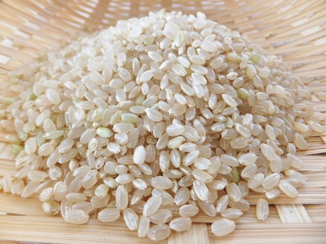 ざるの上の玄米