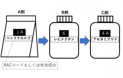 ベンフラカルブ、レピメクチン、アセタミプリドのローテーション散布