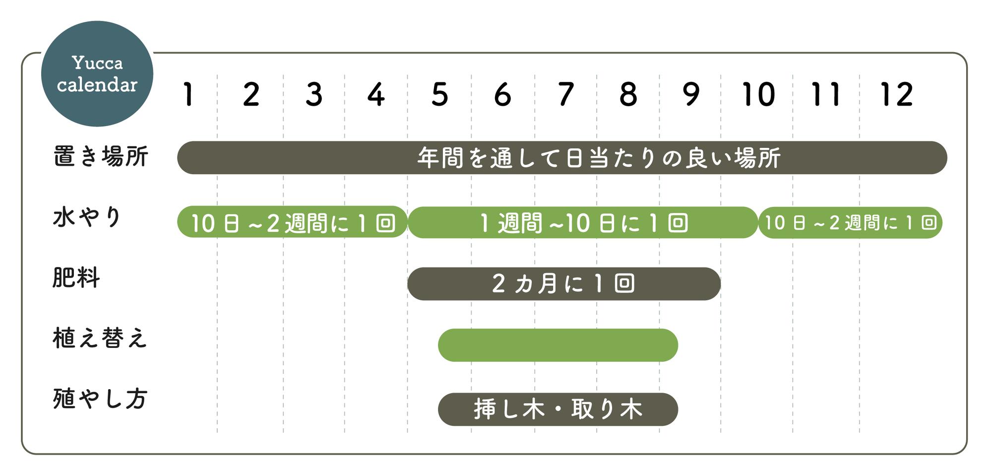 ユッカ栽培カレンダー