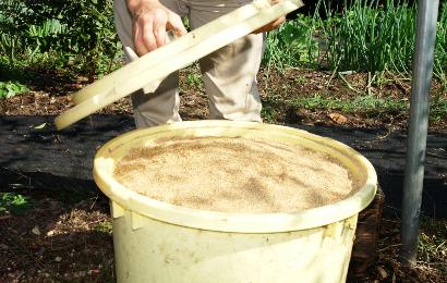 バケツに混ぜた米ぬかのぼかし肥料を入れる