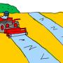 自走式の処理機を使用して土壌消毒剤を散布し、シートで土壌を覆っているイラスト