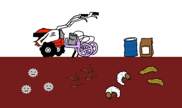 土壌消毒剤を使った土壌消毒、散布機のイラスト