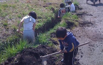 水路を掃除する子どもたち