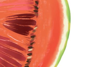 緑斑モザイク病におかされたスイカの果実