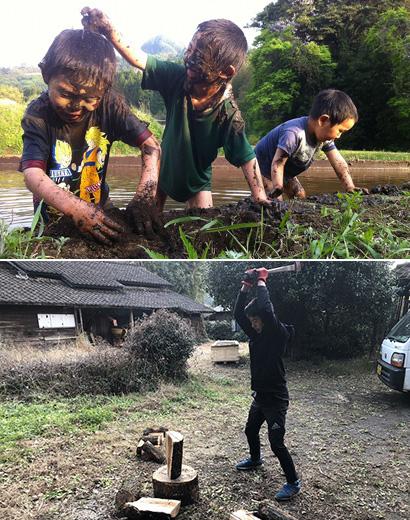 泥だらけの男の子たちや薪割りする男子