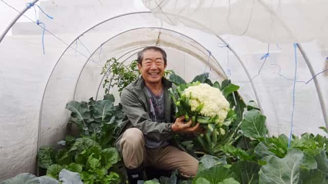 カリフラワーを持った福田先生